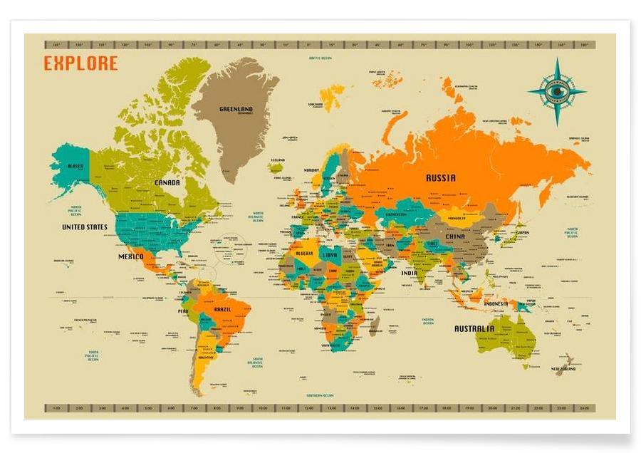 Bunte Neue Welt-Karte -Poster