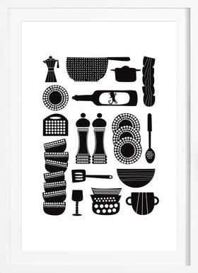 Kitchen Tools - Poster in Wooden Frame