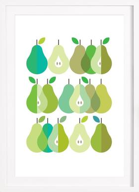 Scandi Pears 1 - Poster in Wooden Frame