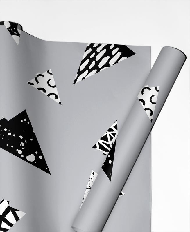 Christmas Trees Black & White papier cadeau