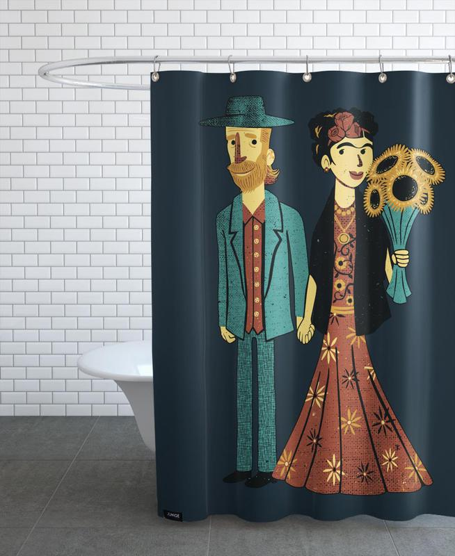 Love Is Art Frida Kahlo and Van Gogh rideau de douche