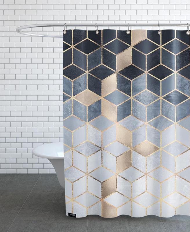 Soft Blue Gradient Cubes -Duschvorhang