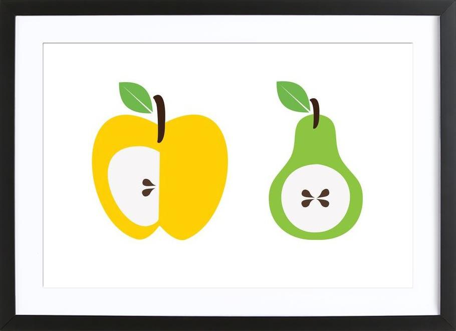 The Apple And Pear Poster -Bild mit Holzrahmen