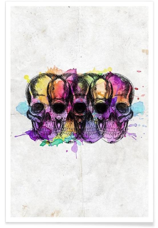 Watercolor Skulls -Poster