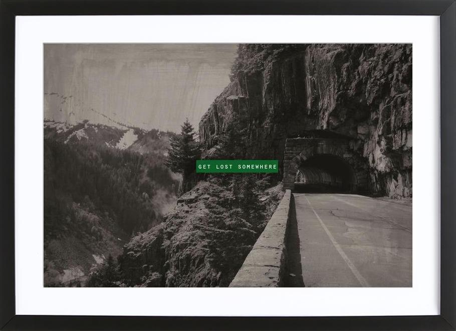 Get Lost Somewhere -Bild mit Holzrahmen