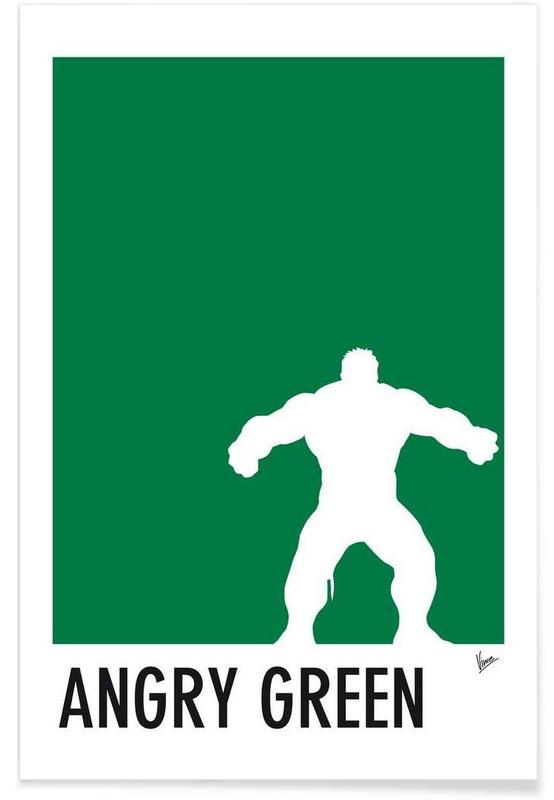 My Superhero 01 Angry Green Minimal Poster affiche