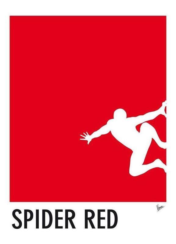 My Superhero 04 Spider Red Minimal Poster -Leinwandbild