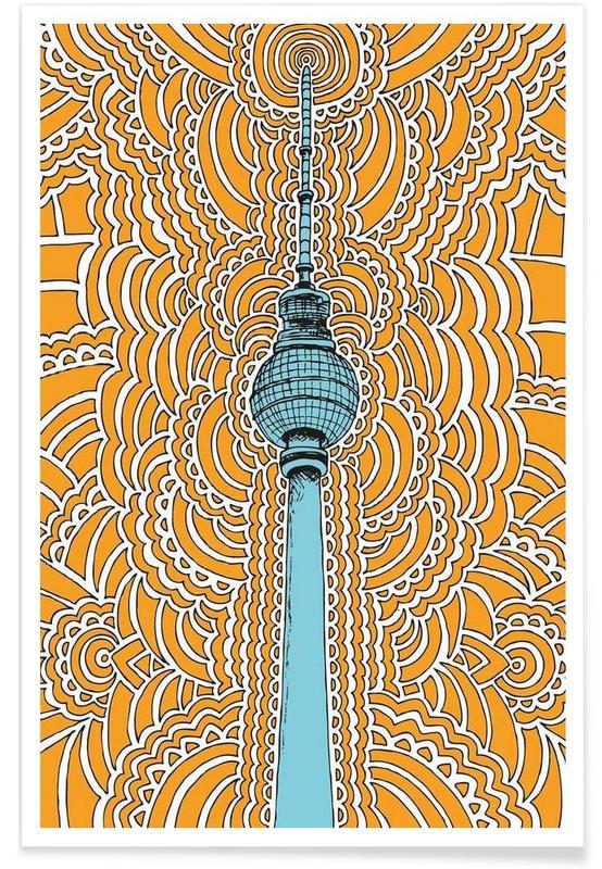 Fernsehturm Drawing Meditation (orange) poster