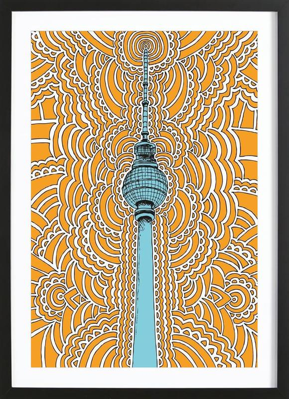 Fernsehturm Drawing Meditation (orange) affiche sous cadre en bois