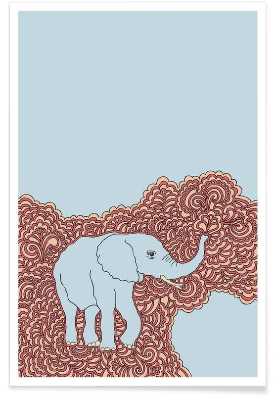 Elephant Blue Poster