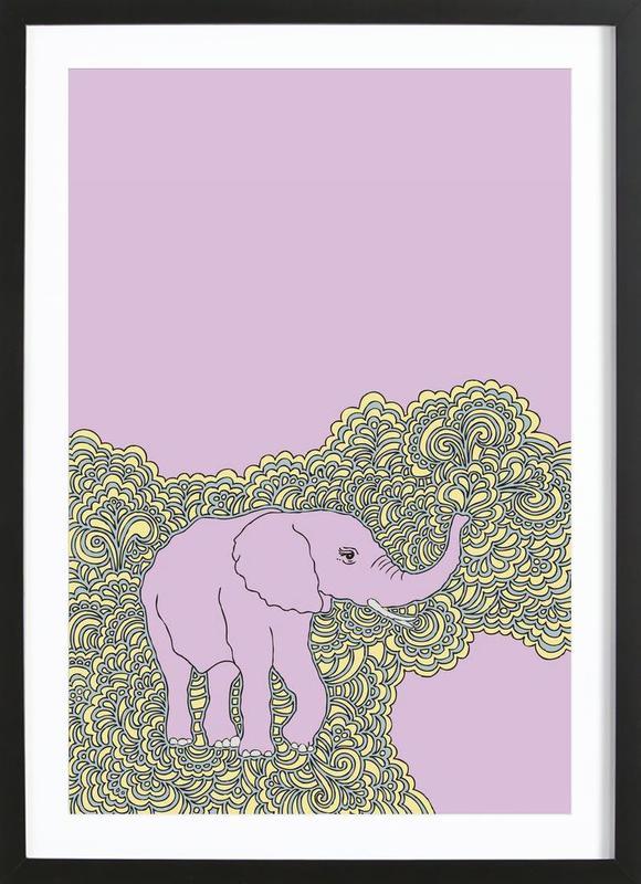 Elephant Purple -Bild mit Holzrahmen