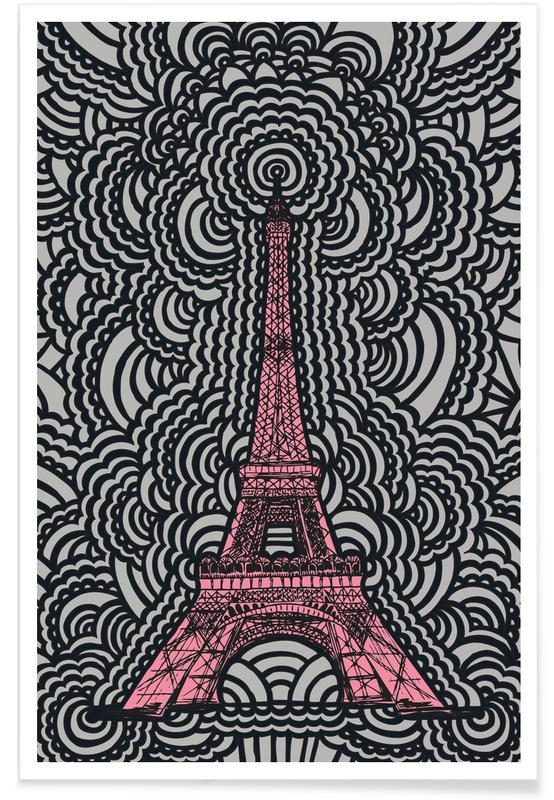 Eiffel Tower Drawing Meditation Pink Poster