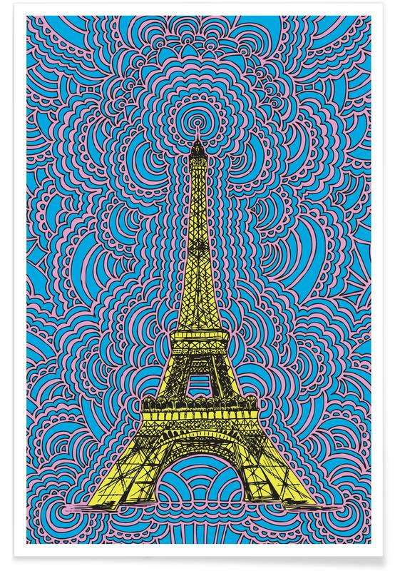 Eiffel Tower Drawing Meditation Yellow Poster