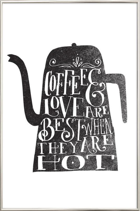 coffee & love affiche sous cadre en aluminium