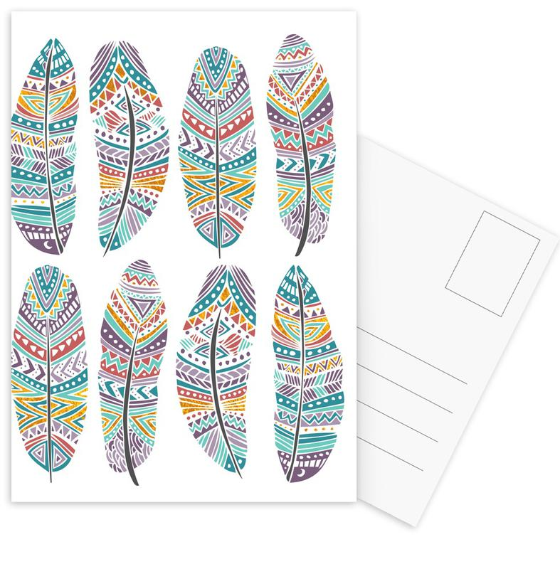 Feathers Pattern with Gold Postcard Set
