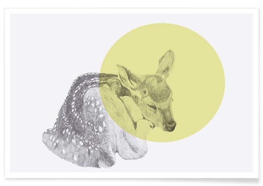 Sleeping Deer Drawing Poster