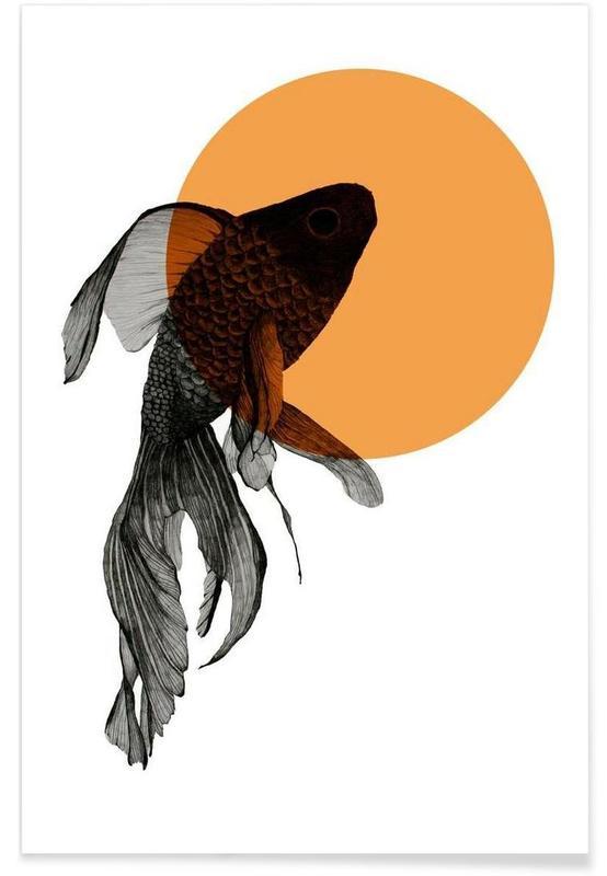Goldfish Drawing Poster