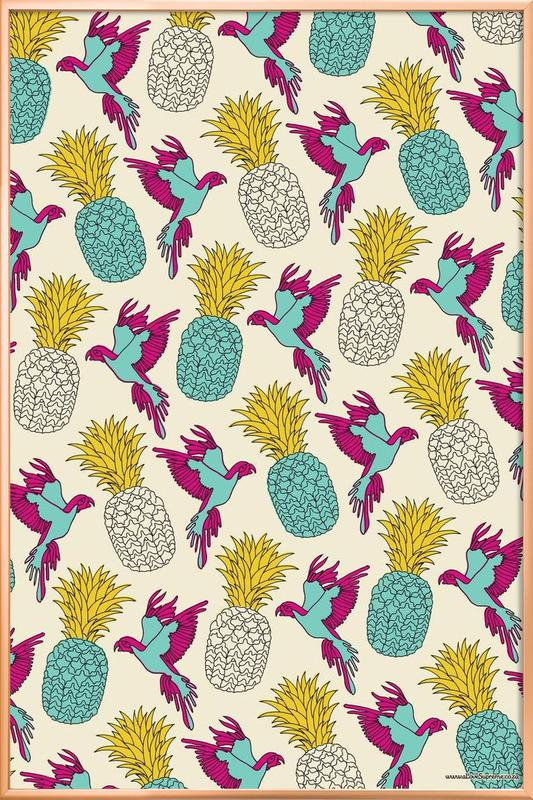 Wrapping Paper Pineapple -Poster im Alurahmen
