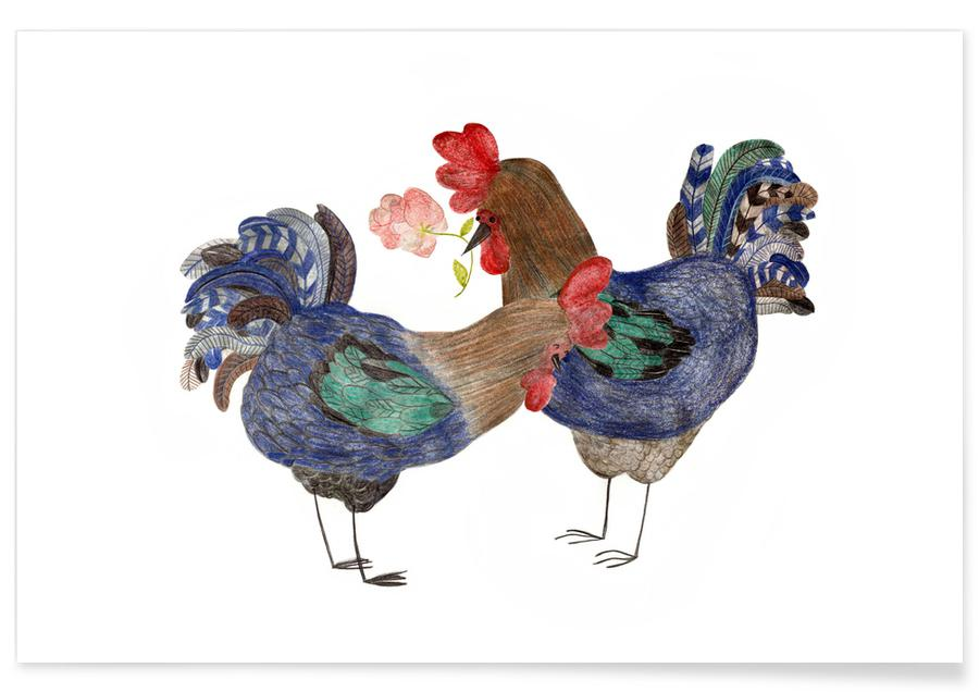 Roosters in Love Poster