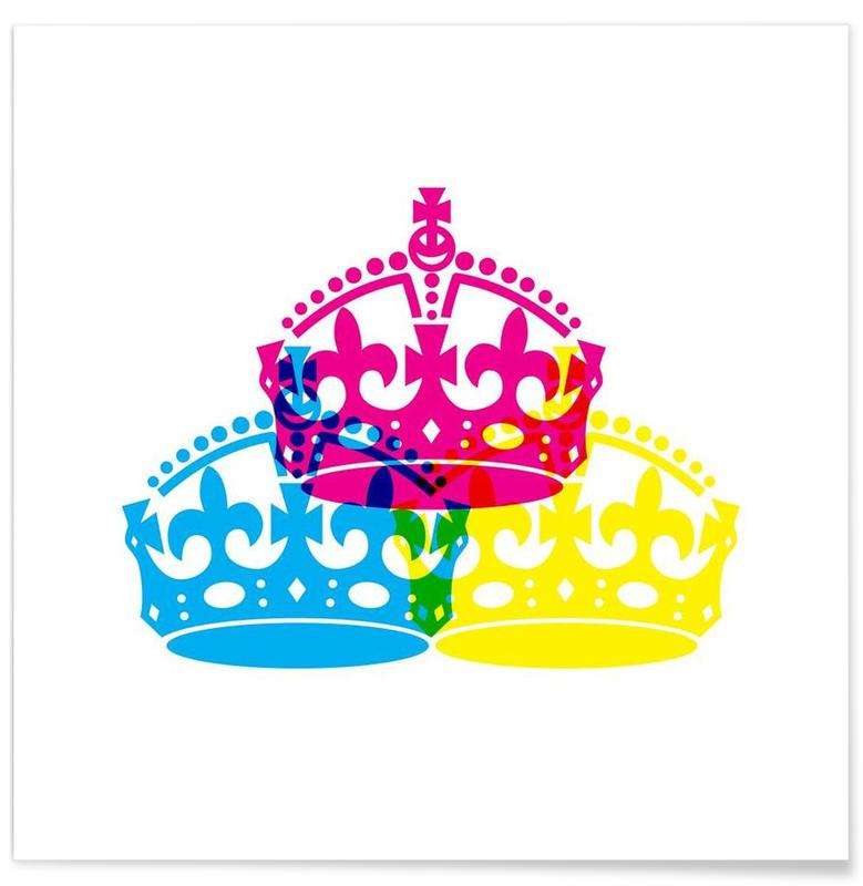 Colorful Crowns Poster