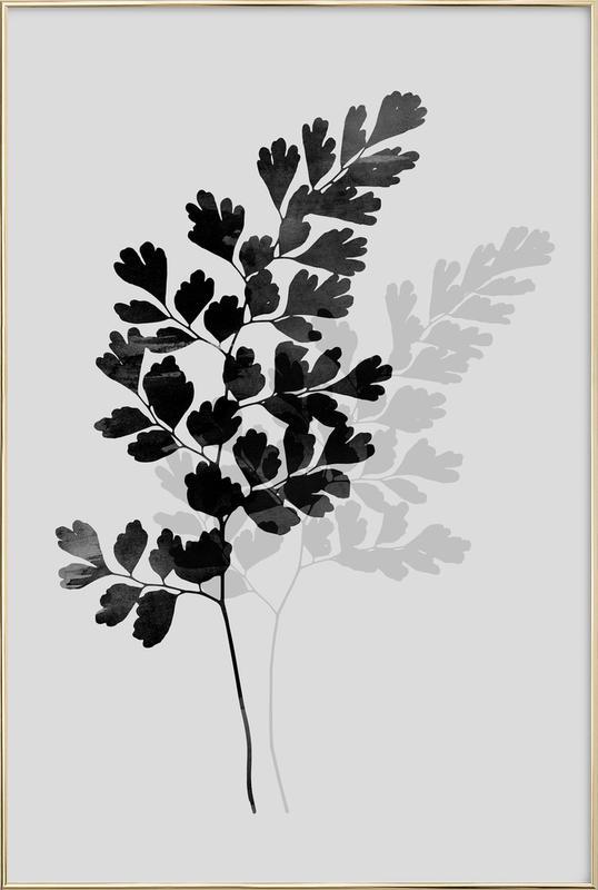 Watercolor Leaves 14 Poster in Aluminium Frame
