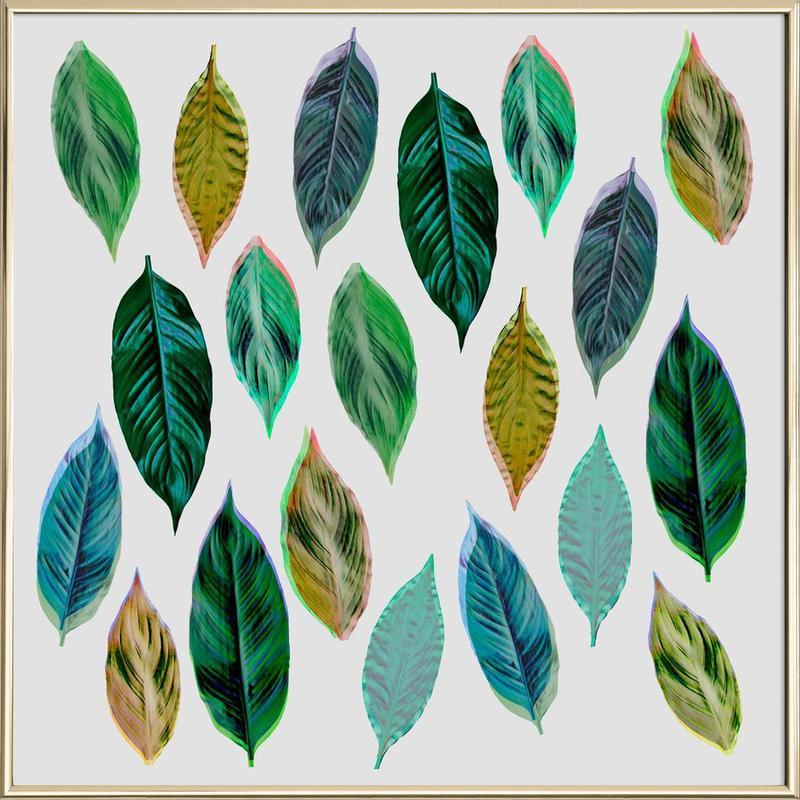 Green Leaves 2 -Poster im Alurahmen