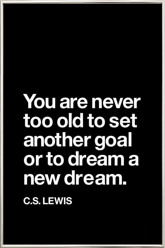 You Are Never Too Old to Set Another Goal Poster in Aluminium Frame