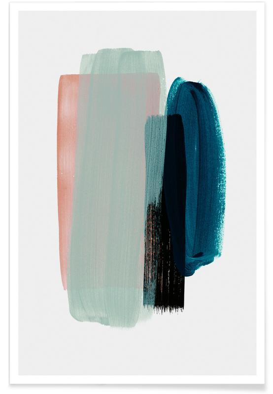 Art abstrait rose et bleu-vert affiche