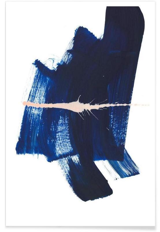 Art abstrait bleu foncé affiche
