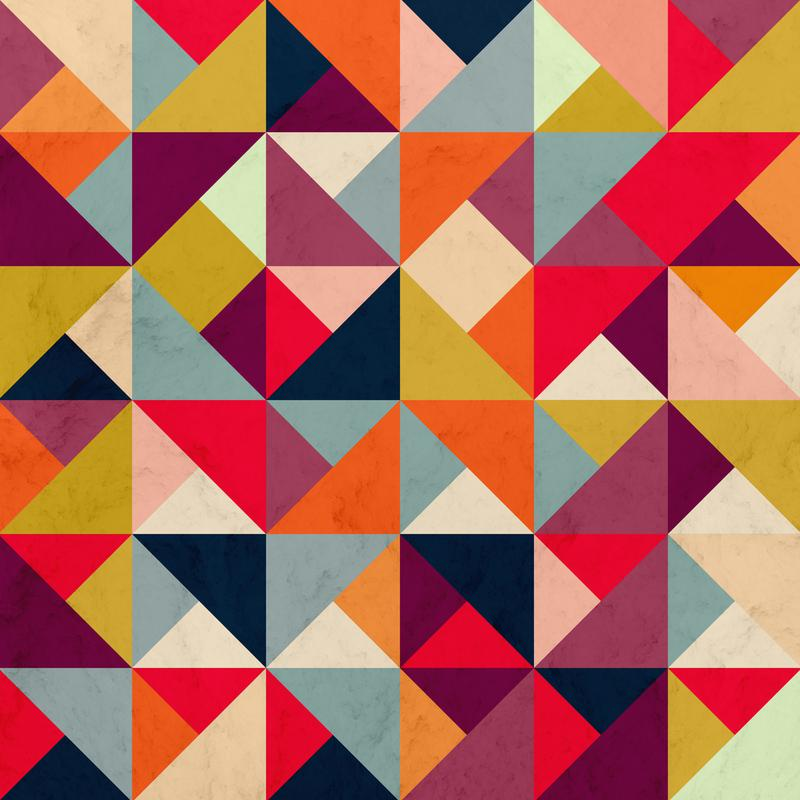 Bright Geometric Happy Pattern Aluminium Print