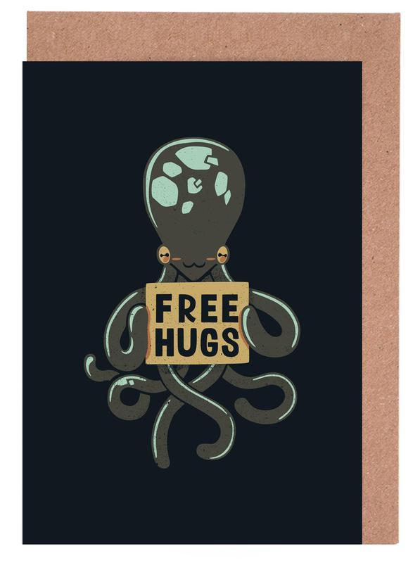 Free Hugs Octopus Greeting Card Set