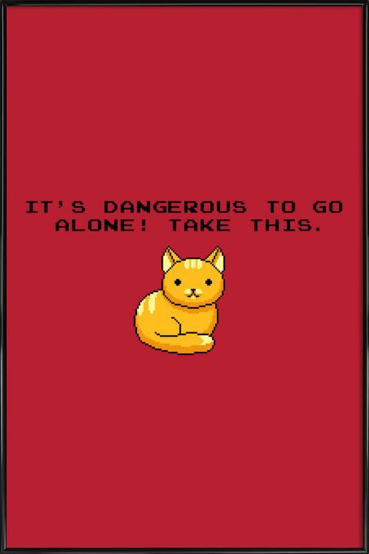 Its Dangerous To Go Alone Take This Cat affiche encadrée