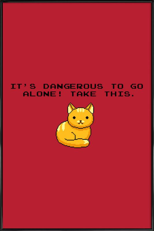 Its Dangerous To Go Alone Take This Cat Framed Poster