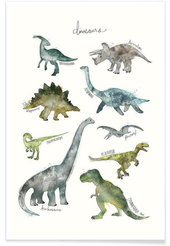Dinosaurs Illustration Poster