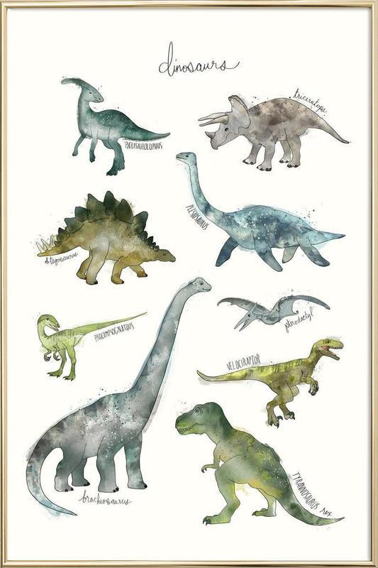 Dinosaurs poster in aluminium lijst