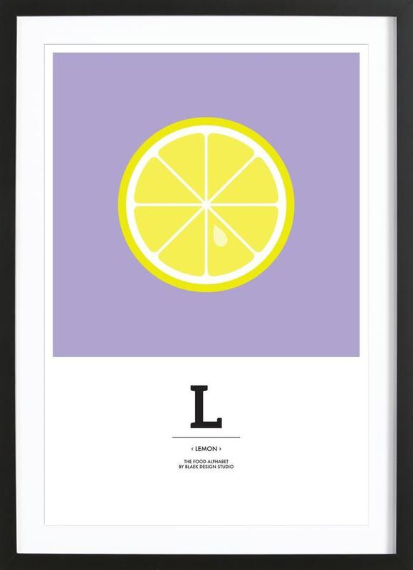 """The Food Alphabet"" - L like Lemon -Bild mit Holzrahmen"