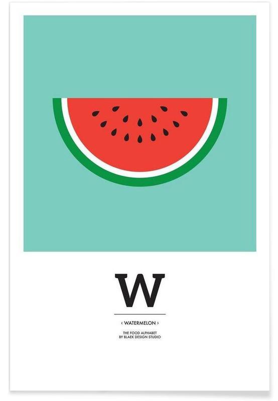 """The Food Alphabet"" - W like Watermelon Poster"