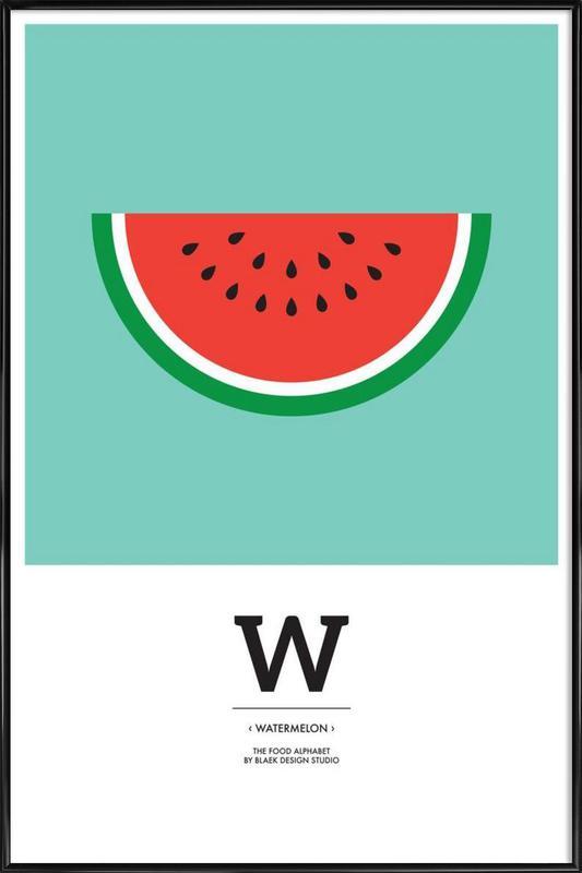 """""""The Food Alphabet"""" - W like Watermelon affiche encadrée"""