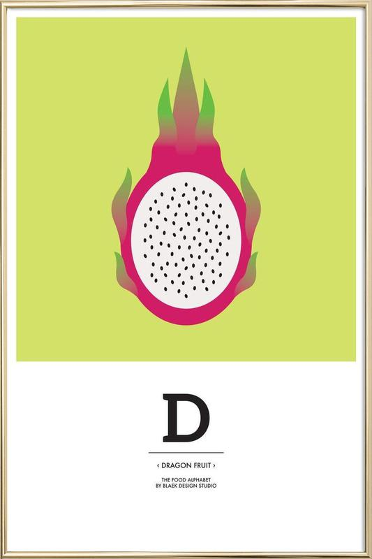 """The Food Alphabet"" - D like Dragon Fruit Poster in Aluminium Frame"