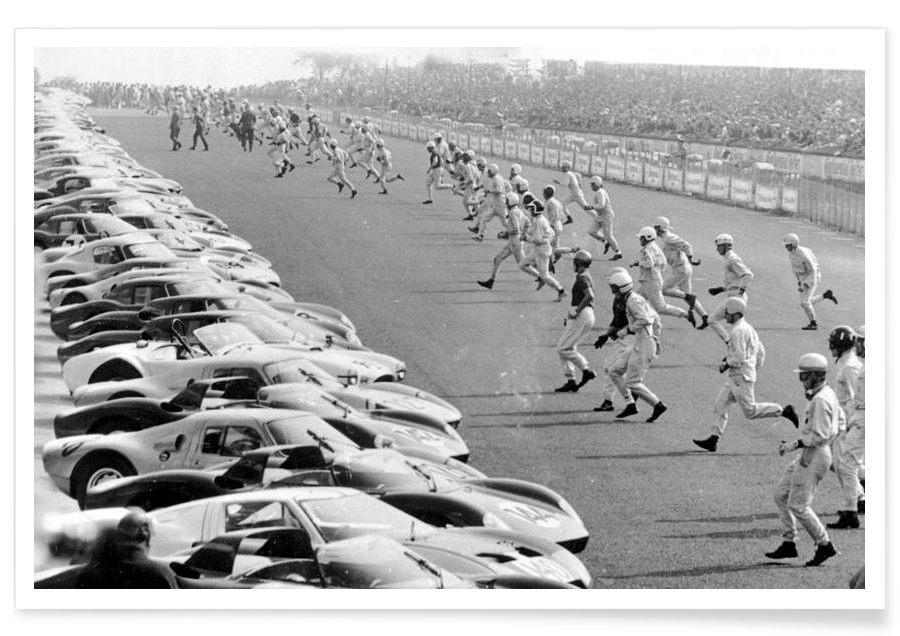 Vintage foto van Start, Le Mans poster
