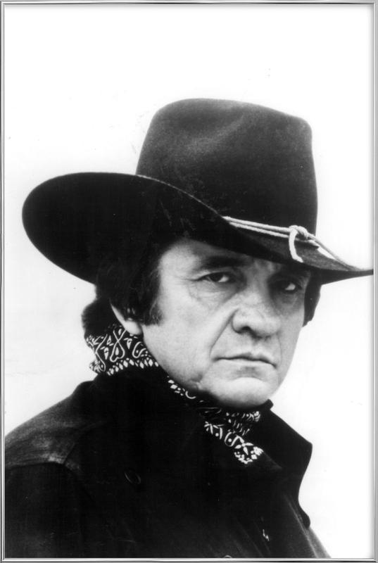 Country Singer, Johnny Cash Poster in Aluminium Frame