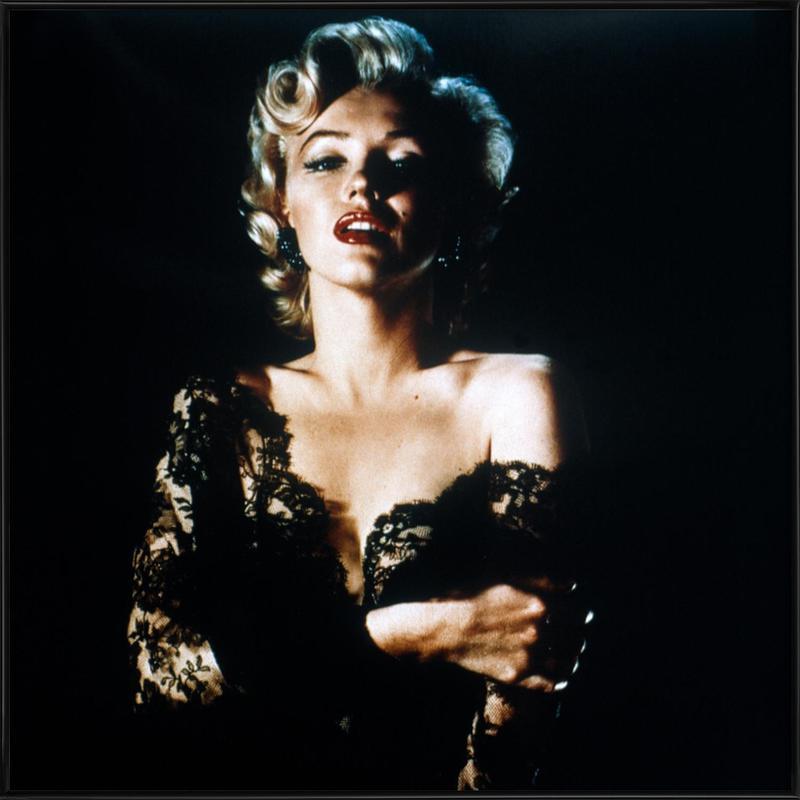Marilyn Monroe wearing Black Lace Framed Poster
