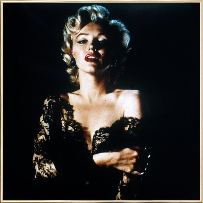 Marilyn Monroe wearing Black Lace Poster in Aluminium Frame