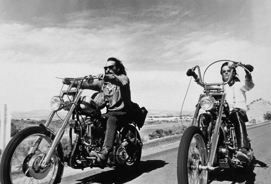 Dennis Hopper & Peter Fonda, 'Easy Rider' tableau en verre