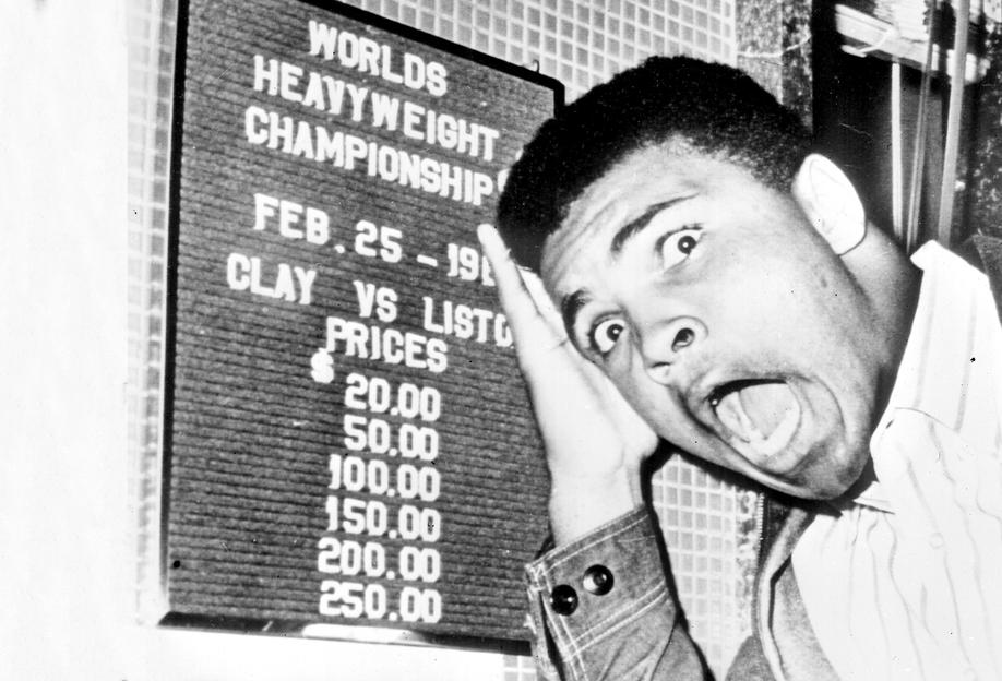 The New World Heavyweight Champion Cassius Clay, 26 February 1964 tableau en verre