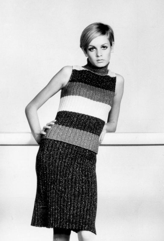 Twiggy in a knitted suit Acrylic Print