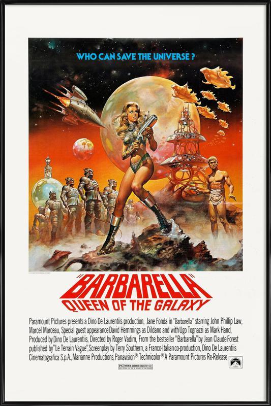 'Barbarella' Retro Movie Poster -Bild mit Kunststoffrahmen