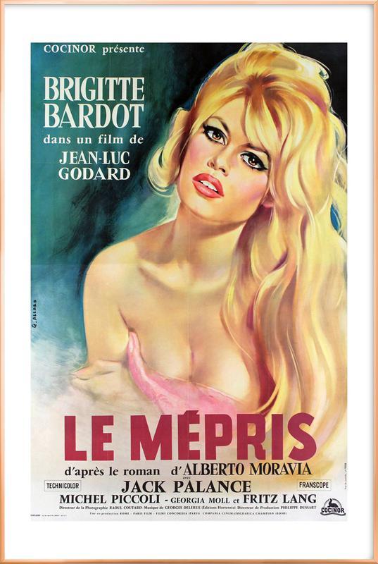 'Le Mepris' Retro Movie Poster Poster in Aluminium Frame
