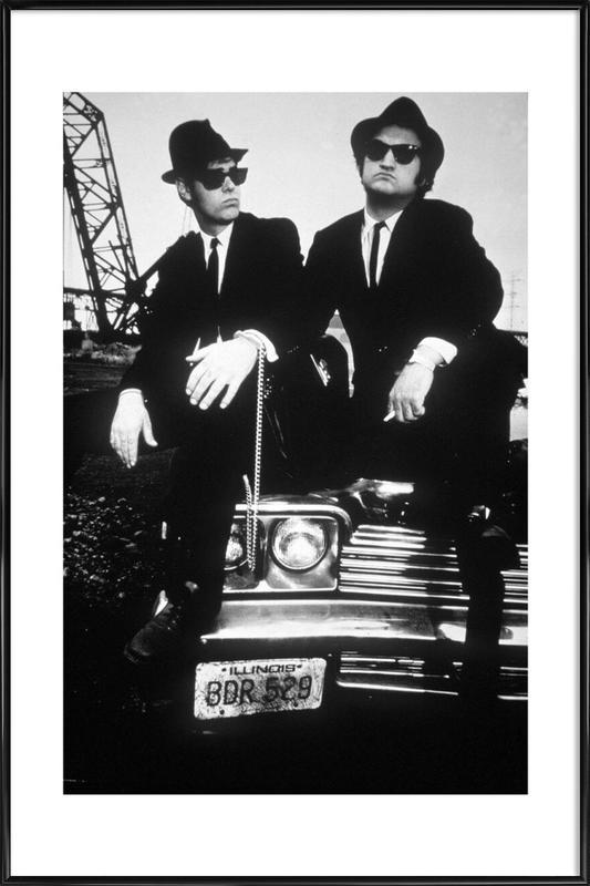 Dan Akroyd and John Belushi in Blues Brothes, 1980 -Bild mit Kunststoffrahmen