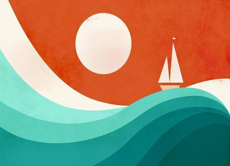 Wave Night canvas doek